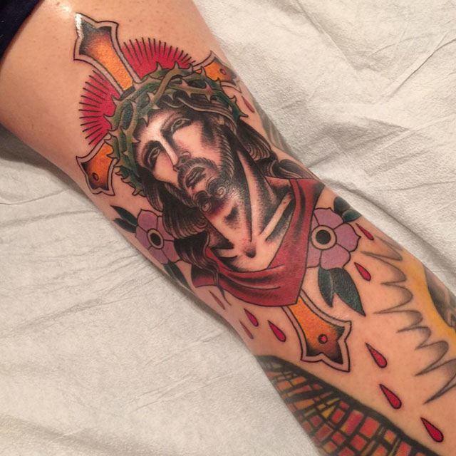 blood drops jesus tattoo traditional