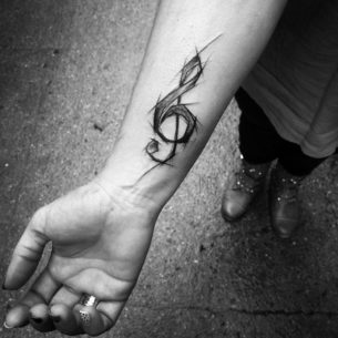 Treble Clef Tattoo on Wrist