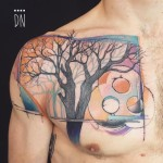 abstract tree tattoo on chest