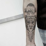 tiger with tree tattoo dotwork