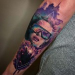 Watercolor Portrait Tattoo Girl