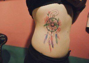 White Snake Dreamcatcher Tattoo