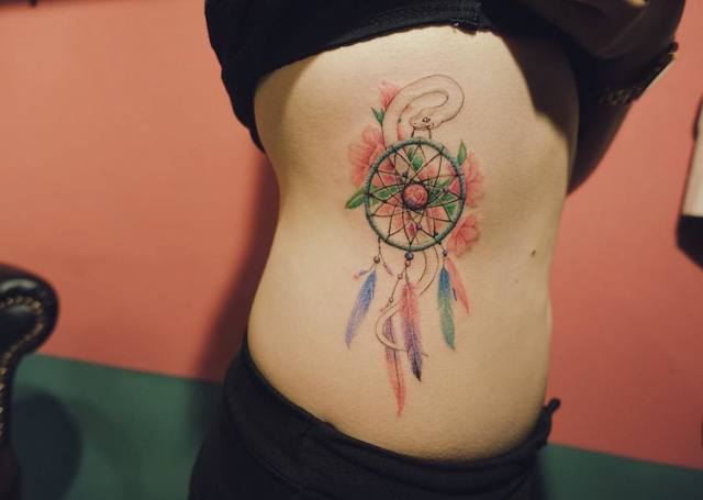 dreamcatcher tattoo side