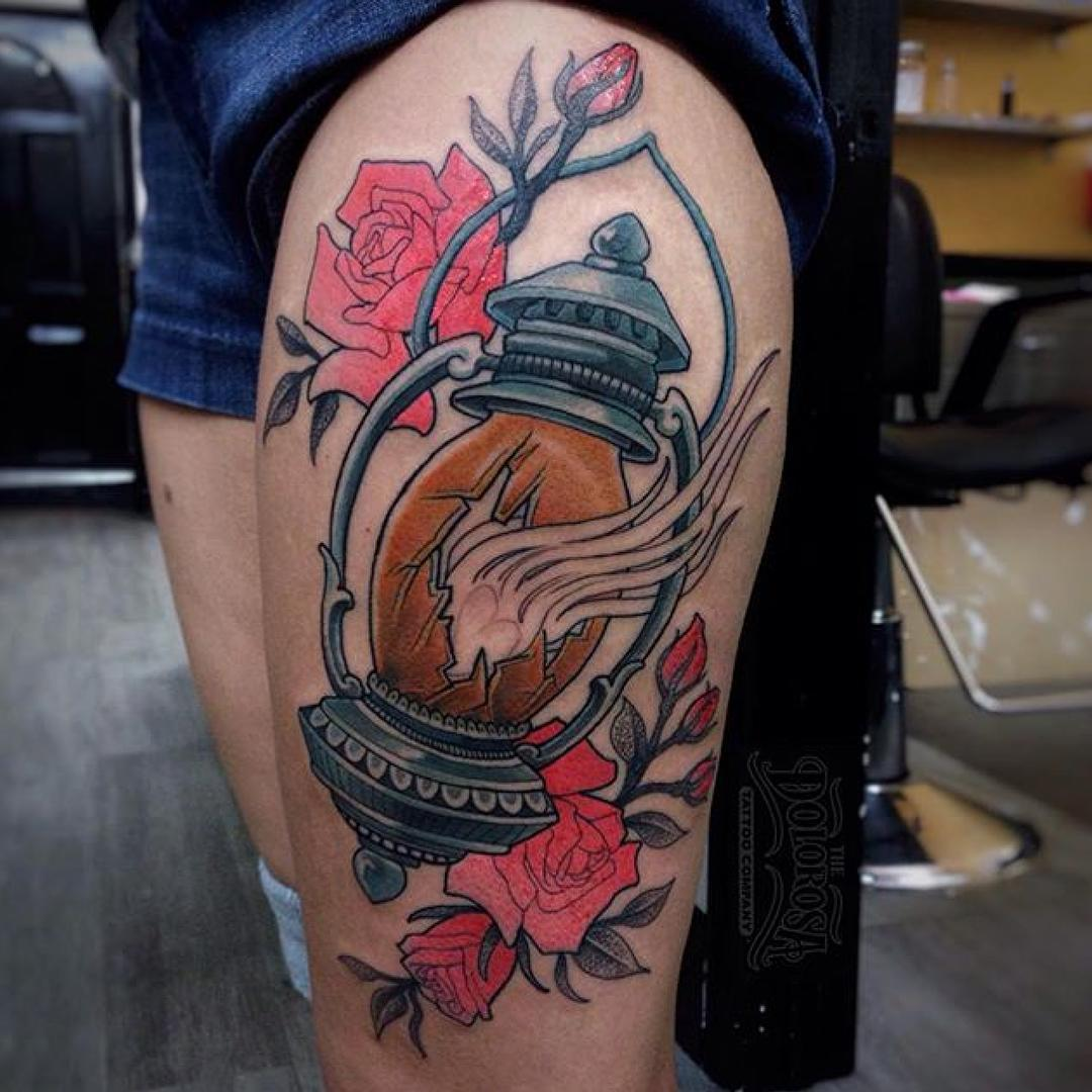 broken lantern tattoo