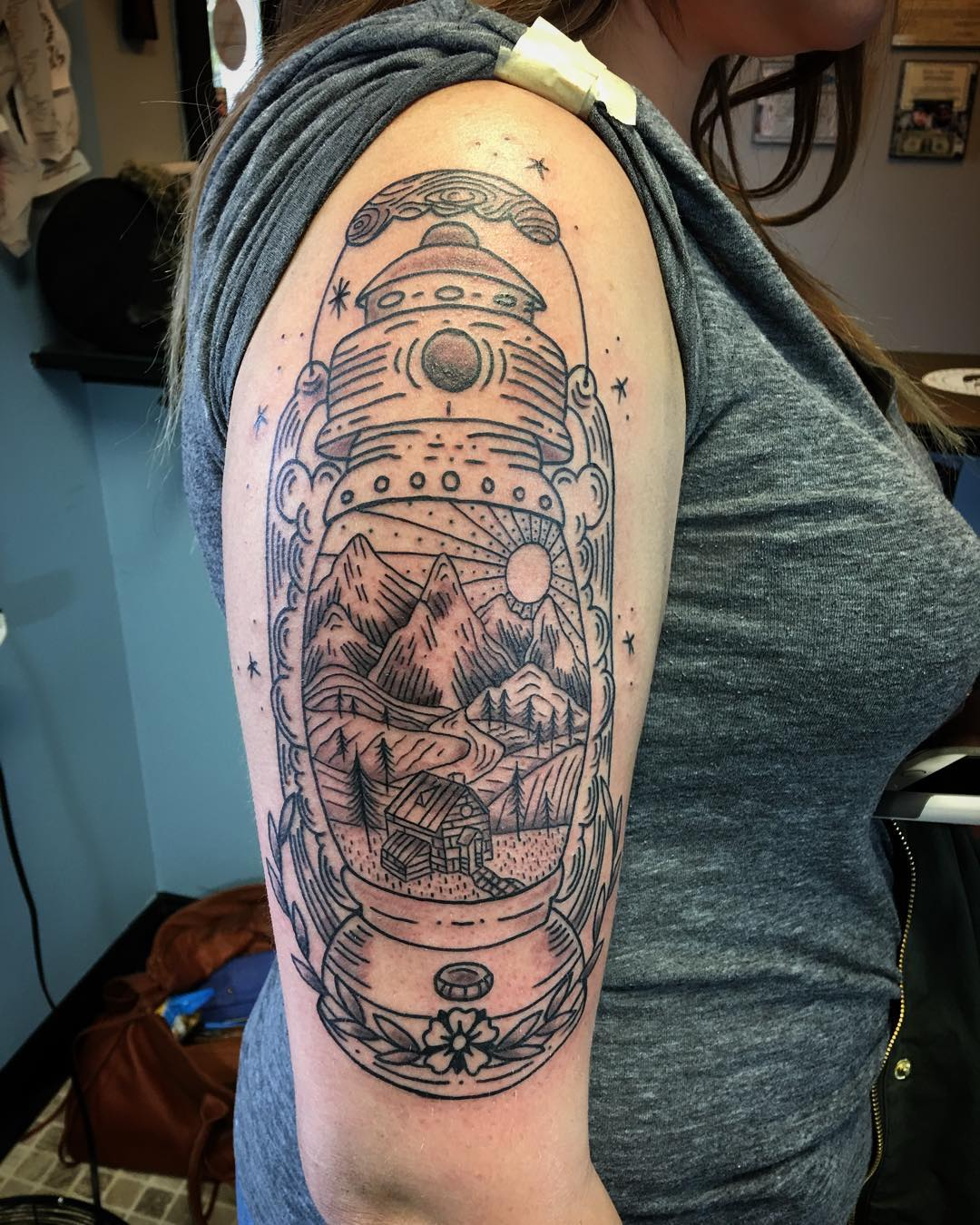graphic lantern tattoo