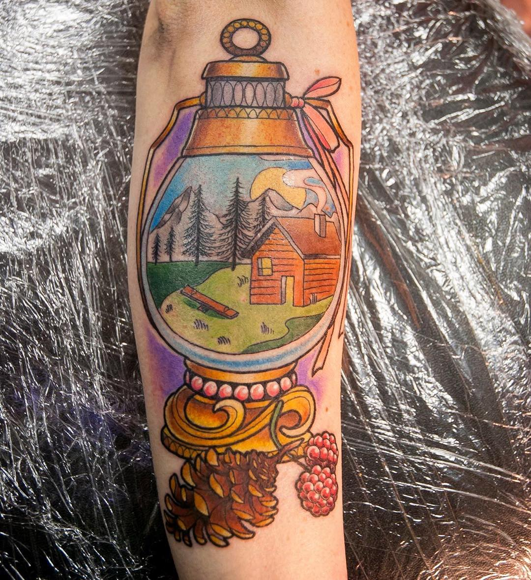 home in lantern tattoo