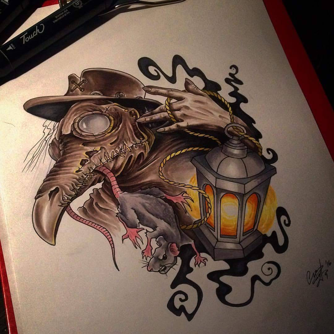 lantern and rat sketch by TATTOO 3000