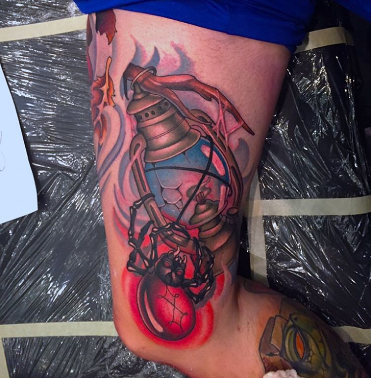 lantern and spider tattoo by Mike Cann