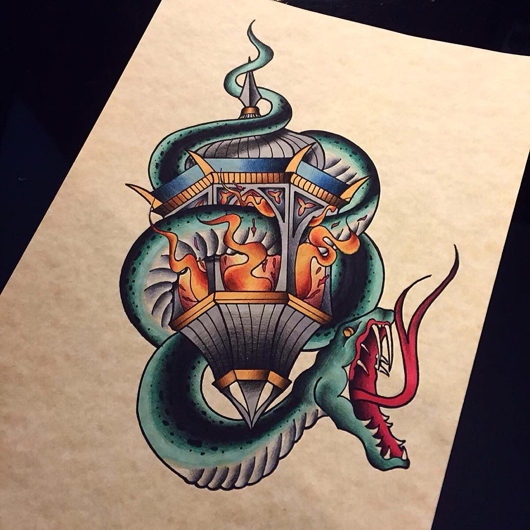 snake and lantern tattoo by Marco Boccanera