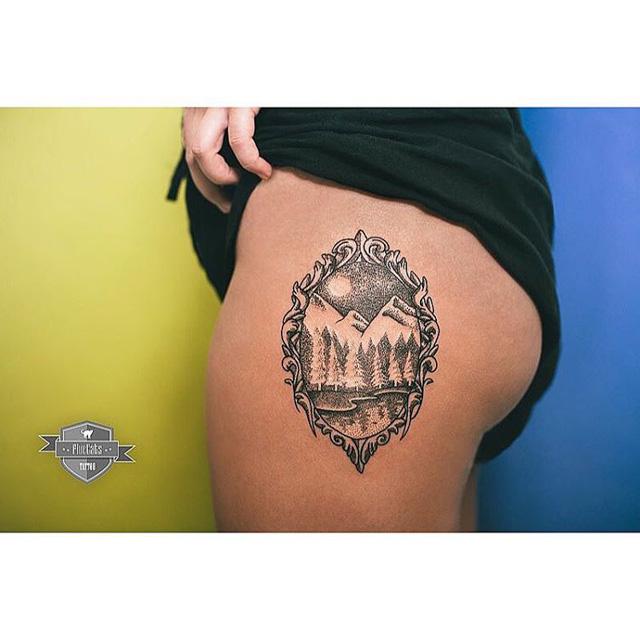 Austrian Mountains tattoo on hip