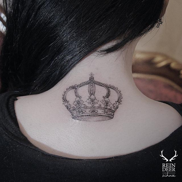 crown tattoo on back of neck