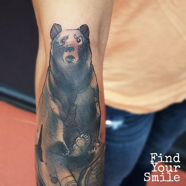 watercolor tattoo of bear