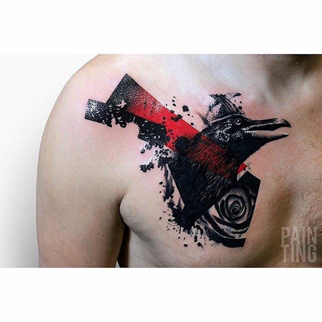 chest tattoo crow