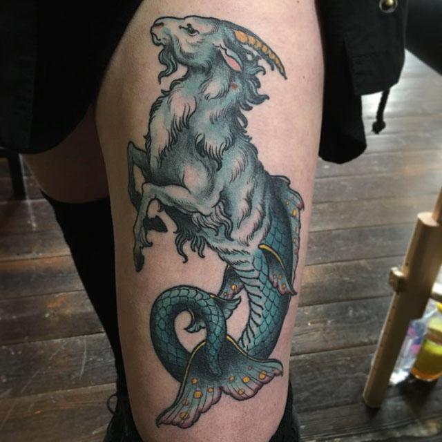 Thigh capricorn tattoo zodiak