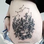 Constellation Sleeping Fox Tattoo