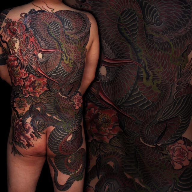 Yakuza dragon tattoo on back