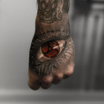 hand tattoo of eye