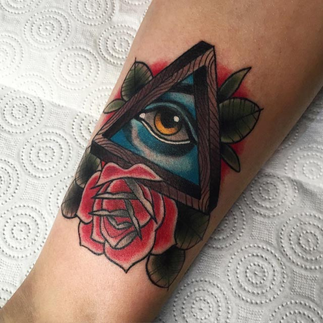 Eye With Triangle Tattoo: Eye Inside Penrose Triangle Tattoo