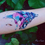 Feather Wolf Tattoo Watercolor