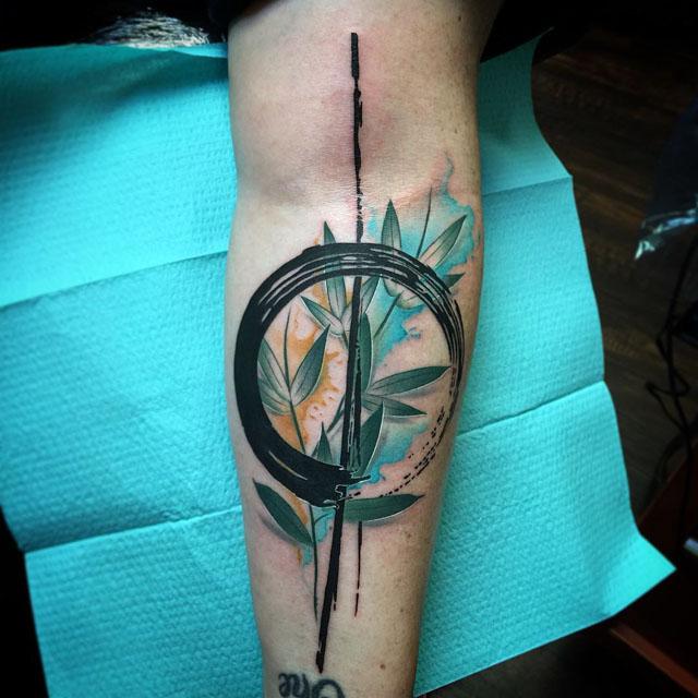 watercolor Floral Zen tattoo
