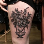 Flowerpot Tattoo on Thigh