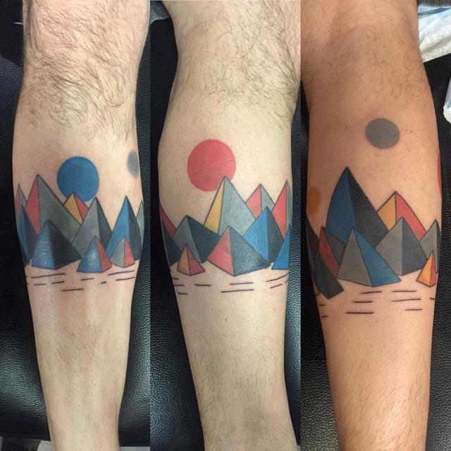 mountains geometry tattoo