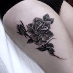 grey tattoo rose