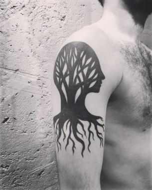 Head-Shaped Tree Tattoo Blackwork