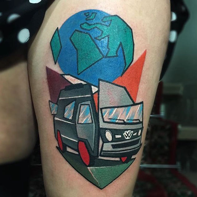 tattoo hippie wagon