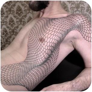 Honeycomb Net Tattoo on Side