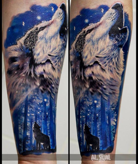 wolf tattoo night