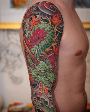 Japanese Dragon Tattoo Sleeve