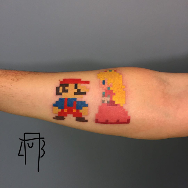 mario tattoo design and princess