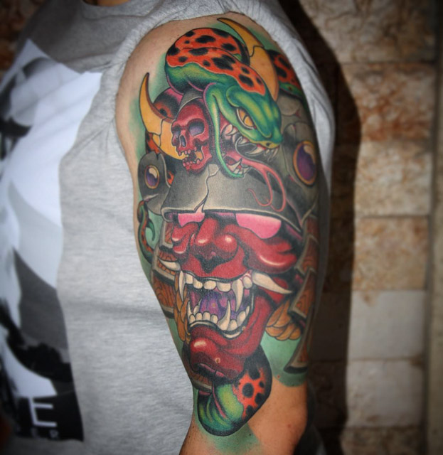 Hannya mask tattoo new school