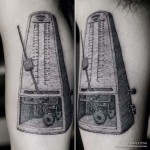 etching metronome tattoo
