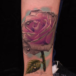 Realistic Rose Tattoo With Drops