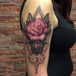 Shoulder Rose Baroque Tattoo