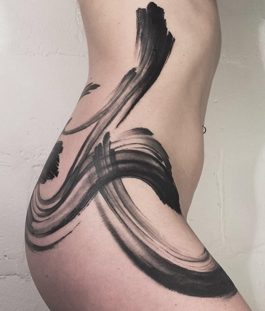 side and hip brushwork tattoo best tattoo ideas gallery