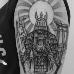 Sketchy Samurai Tattoo on Shoulder