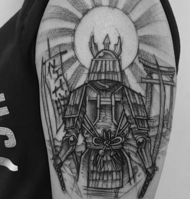 Sketchy Samurai Tattoo On Shoulder Best Tattoo Ideas Gallery
