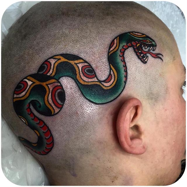 head tattoo snake