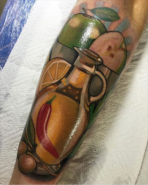 arm tattoo still life