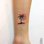 small tattoo palm sunset