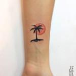 Sunset Palm Tattoo