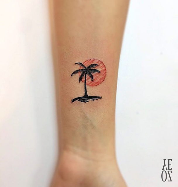 small tattoo palm sunset