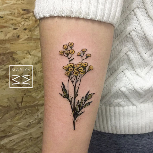 arm tansies flowers tattoo