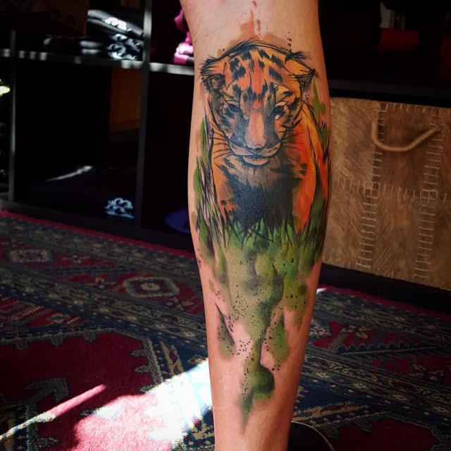 watercolor tattoo tiger baby