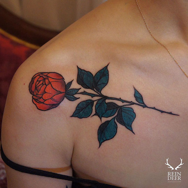 rose tattoo traditional