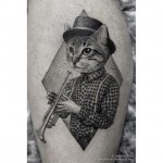 Trumpet Cat Tattoo