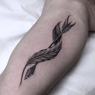 Twisted Feather Arrow Tattoo